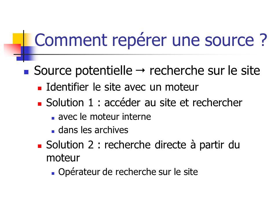 Comment repérer une source