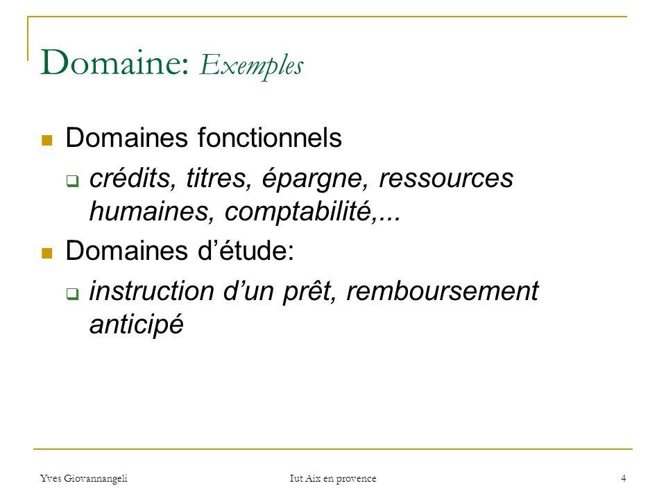 Domaine: Exemples Domaines fonctionnels