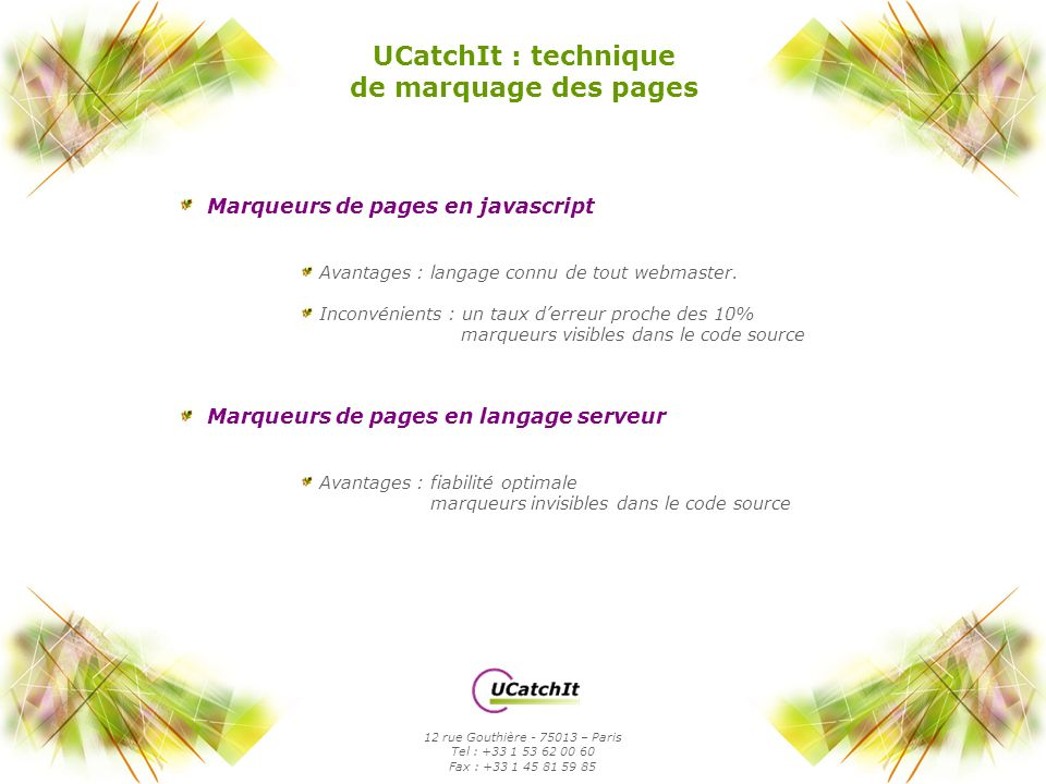 UCatchIt : technique de marquage des pages