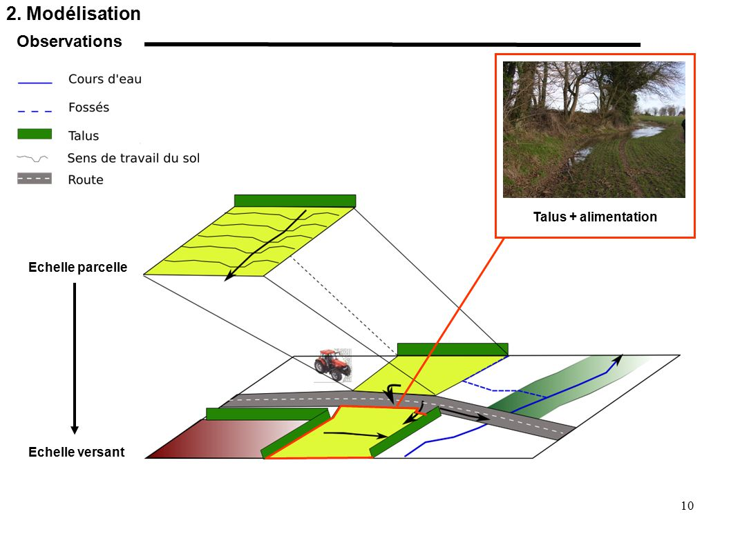 2. Modélisation Observations Talus + alimentation Echelle parcelle