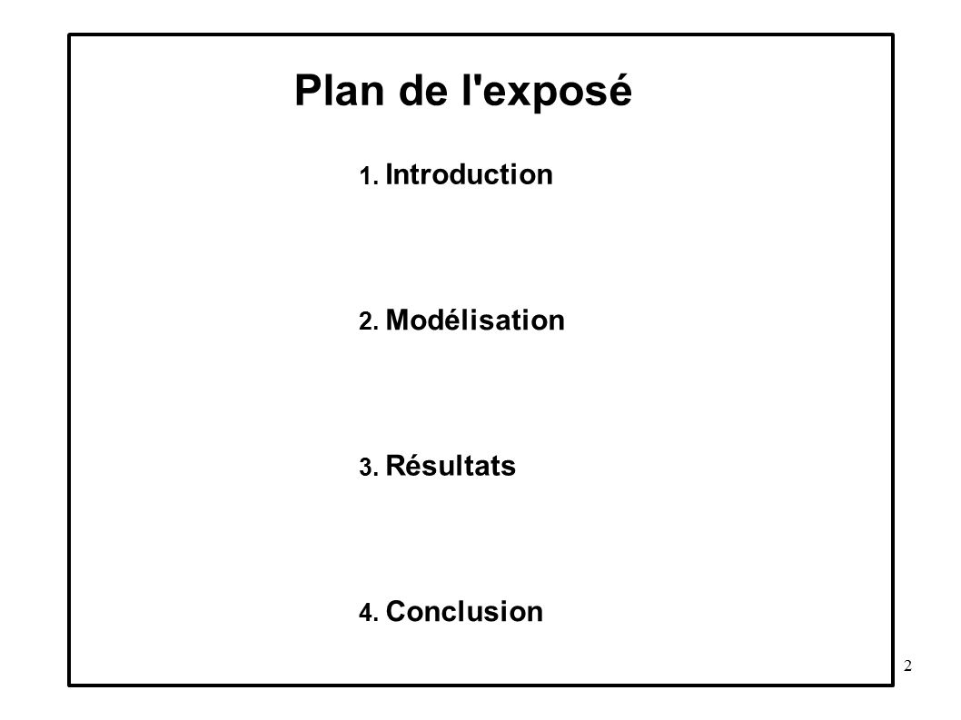 Plan de l exposé 1. Introduction 2. Modélisation 3. Résultats