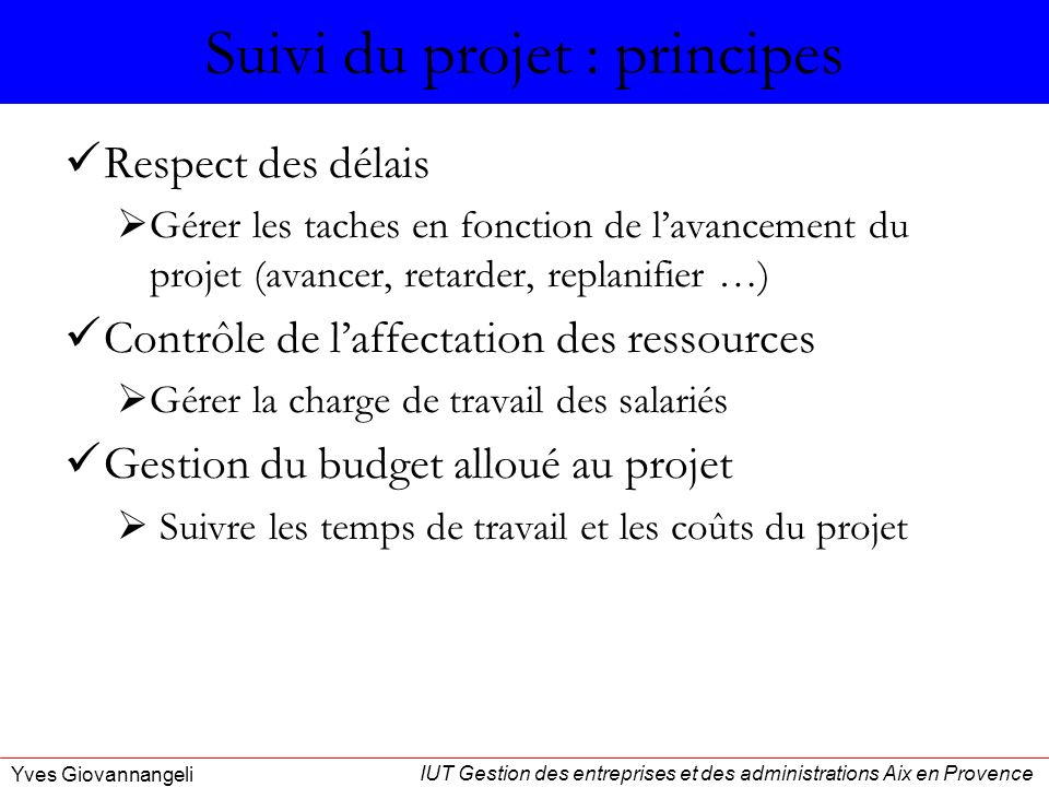 Suivi du projet : principes