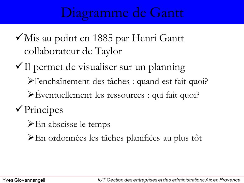 Diagramme de Gantt Mis au point en 1885 par Henri Gantt collaborateur de Taylor. Il permet de visualiser sur un planning.