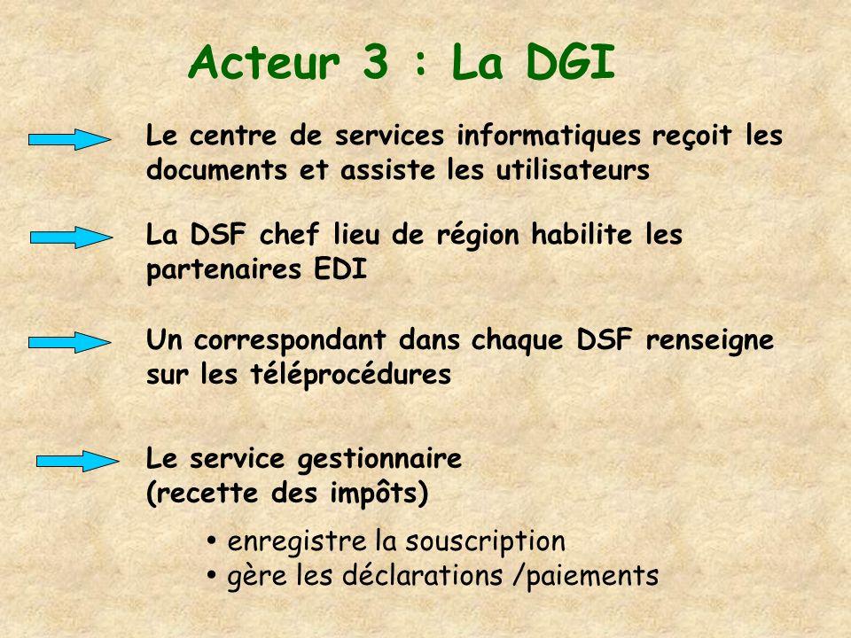 Acteur 3 : La DGI Le centre de services informatiques reçoit les documents et assiste les utilisateurs.