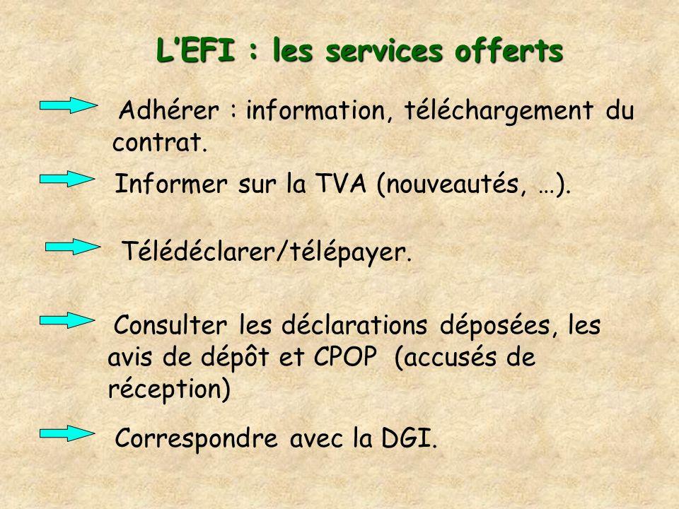 L'EFI : les services offerts