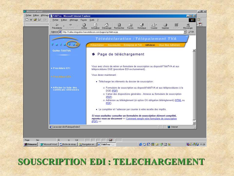 SOUSCRIPTION EDI : TELECHARGEMENT