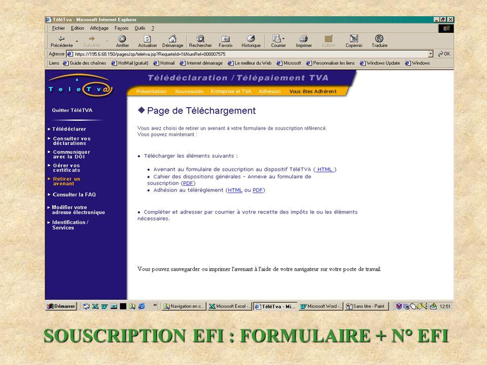 SOUSCRIPTION EFI : FORMULAIRE + N° EFI