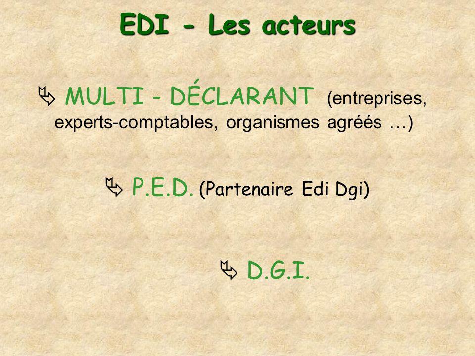 EDI - Les acteurs  MULTI - DÉCLARANT (entreprises, experts-comptables, organismes agréés …)  P.E.D. (Partenaire Edi Dgi)