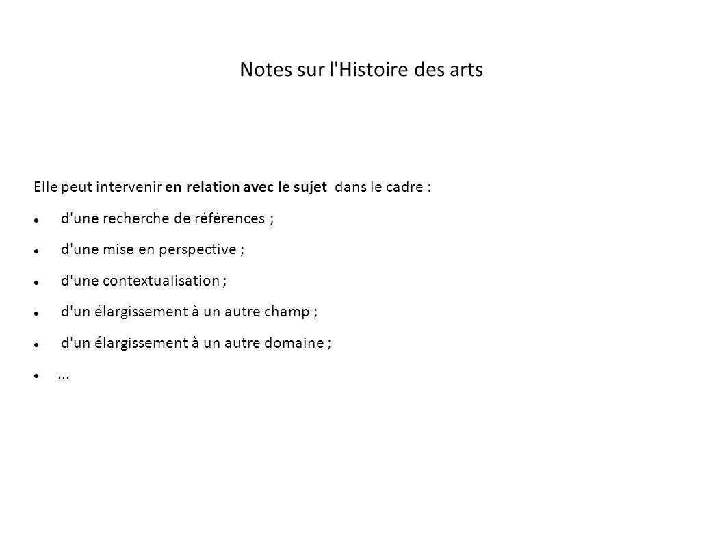 Notes sur l Histoire des arts