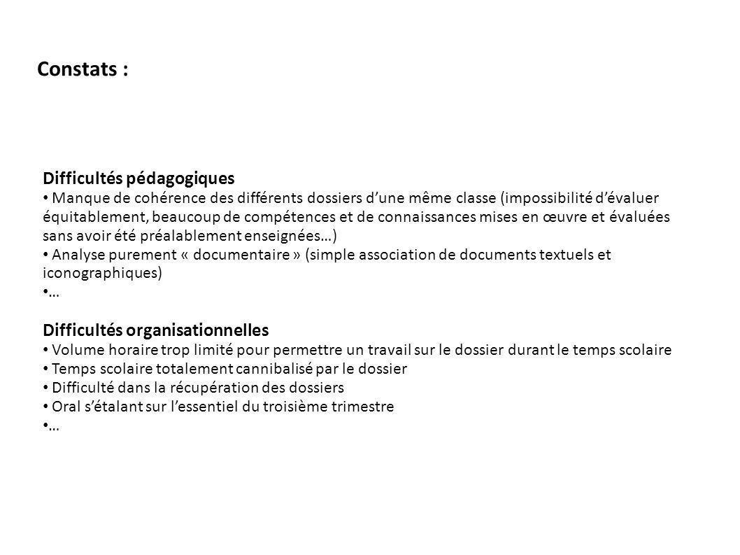Constats : Difficultés pédagogiques Difficultés organisationnelles