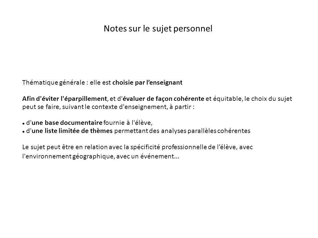 Notes sur le sujet personnel