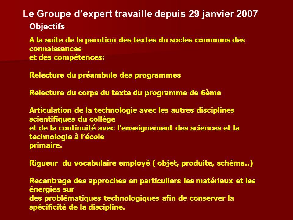 Le Groupe d'expert travaille depuis 29 janvier 2007
