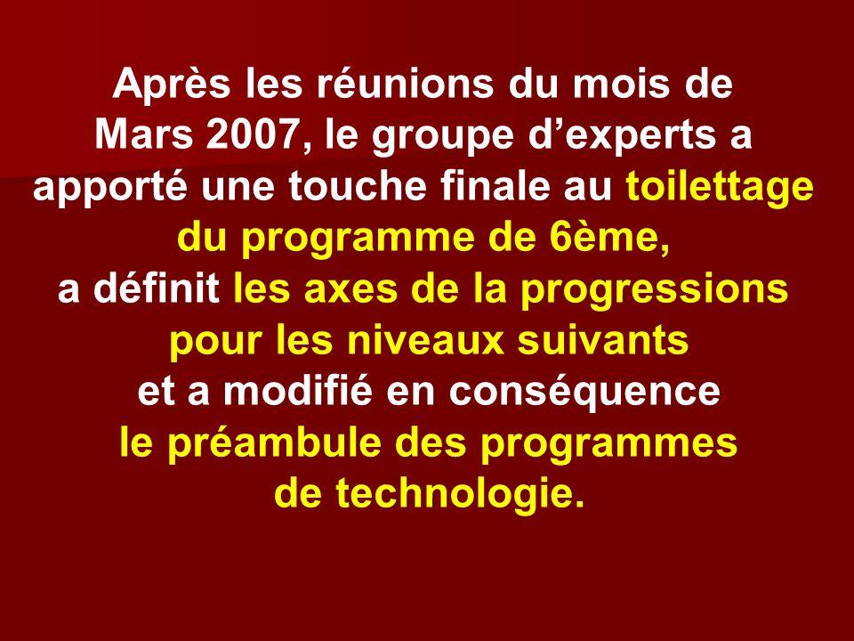 Après les réunions du mois de Mars 2007, le groupe d'experts a