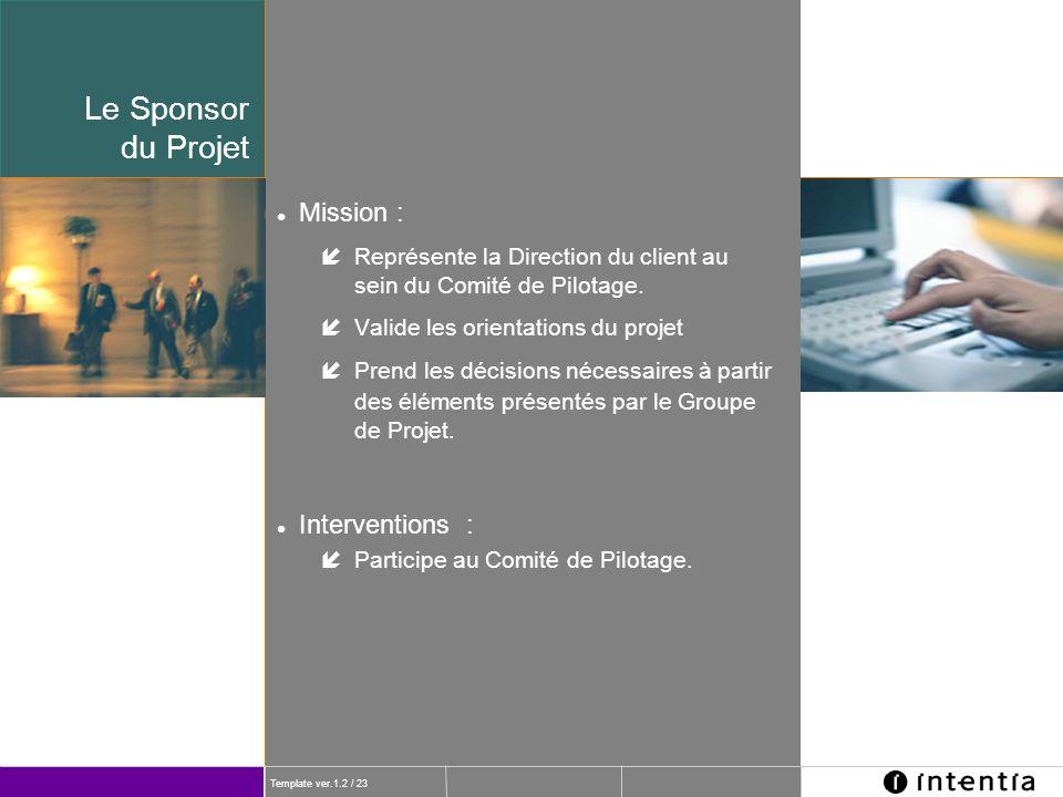 Le Sponsor du Projet Mission : Interventions :