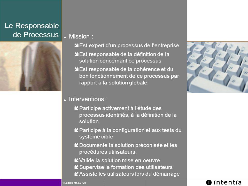 Le Responsable de Processus Mission : Interventions :