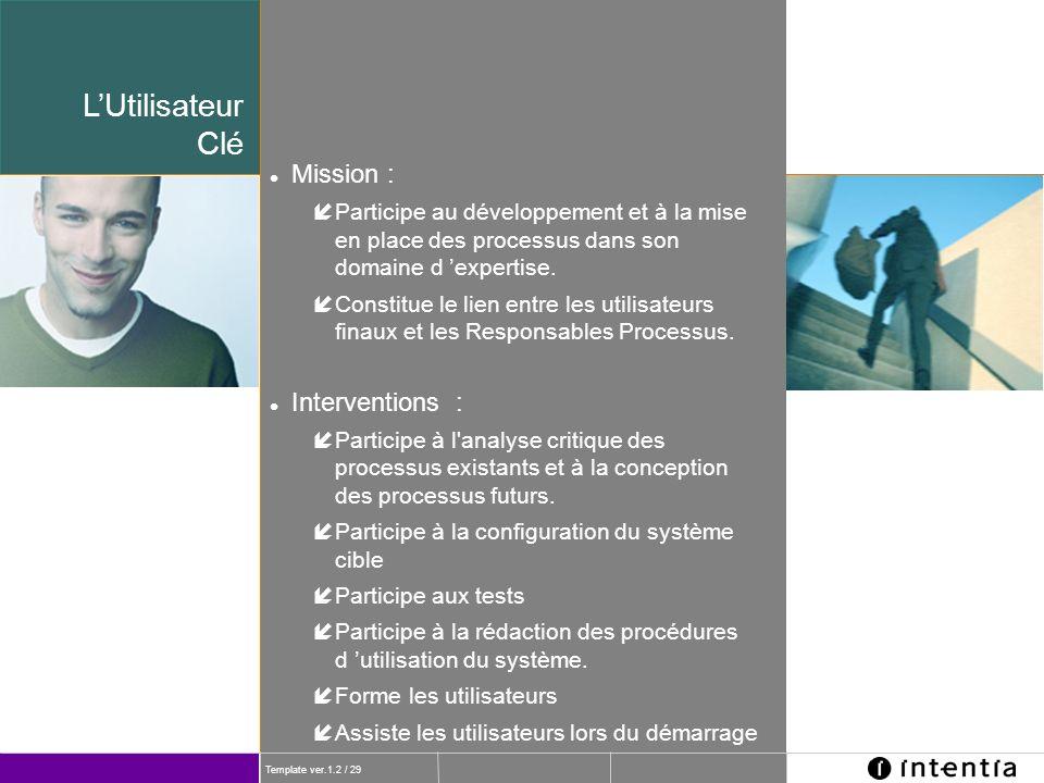 L'Utilisateur Clé Mission : Interventions :