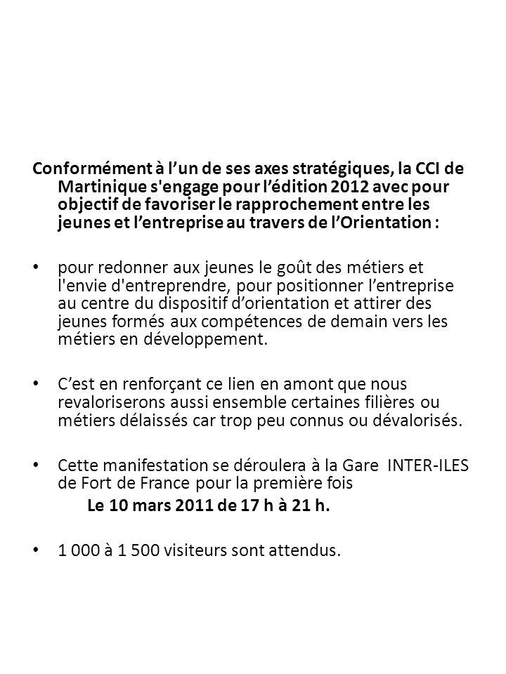 Conformément à l'un de ses axes stratégiques, la CCI de Martinique s engage pour l'édition 2012 avec pour objectif de favoriser le rapprochement entre les jeunes et l'entreprise au travers de l'Orientation :