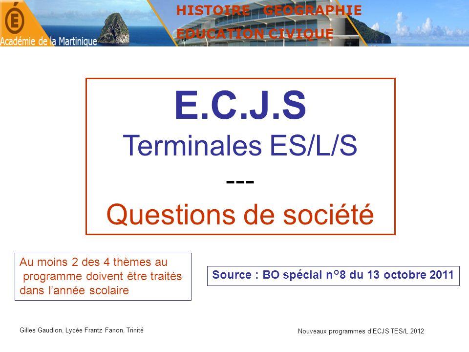 E.C.J.S Terminales ES/L/S --- Questions de société HISTOIRE GEOGRAPHIE