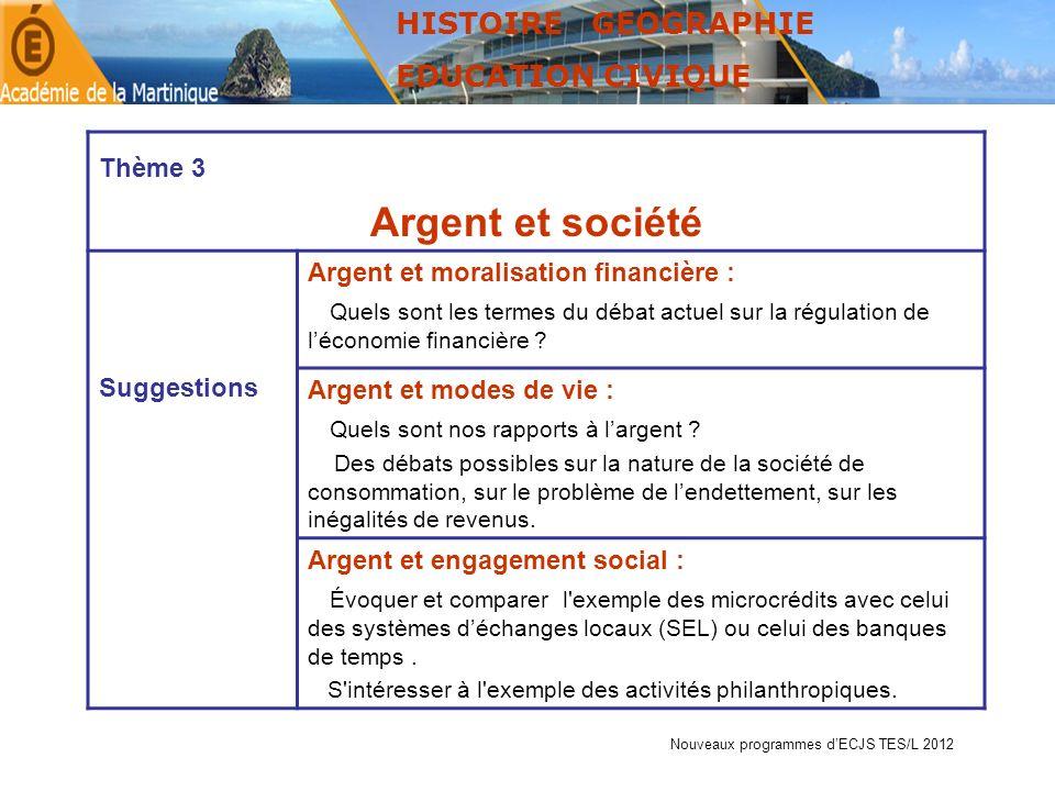 Argent et société HISTOIRE GEOGRAPHIE EDUCATION CIVIQUE Thème 3