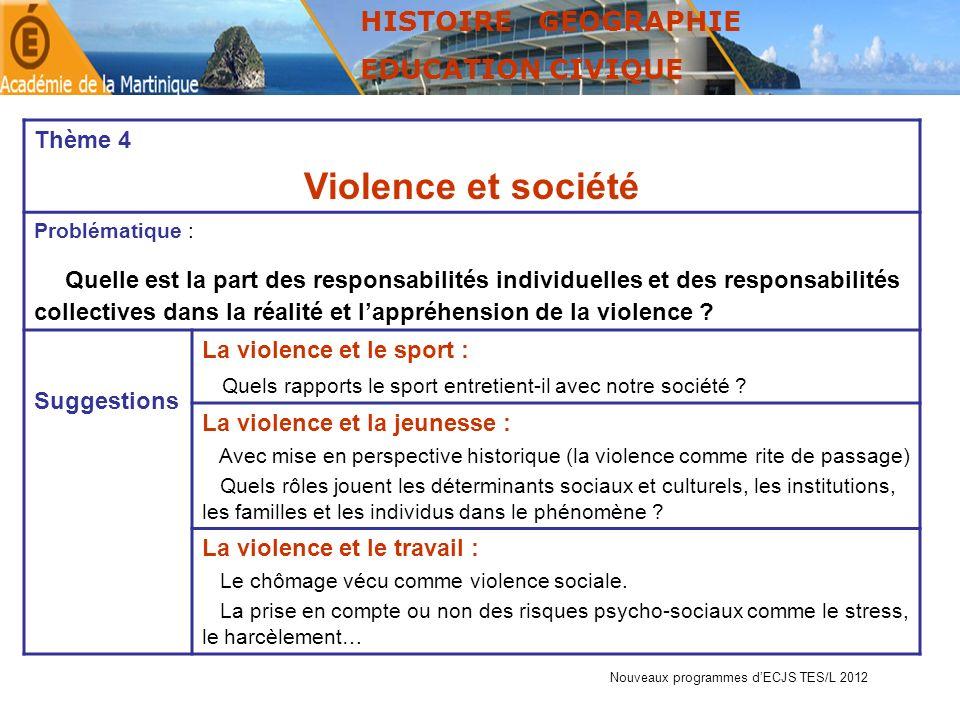 HISTOIRE GEOGRAPHIE EDUCATION CIVIQUE. Thème 4. Violence et société. Problématique :
