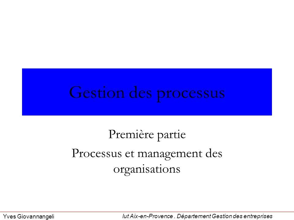 Première partie Processus et management des organisations