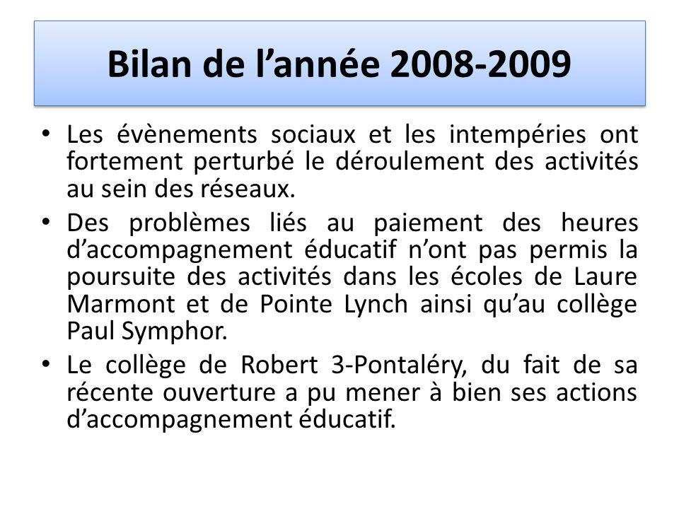 Bilan de l'année 2008-2009 Les évènements sociaux et les intempéries ont fortement perturbé le déroulement des activités au sein des réseaux.