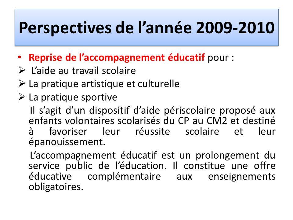 Perspectives de l'année 2009-2010