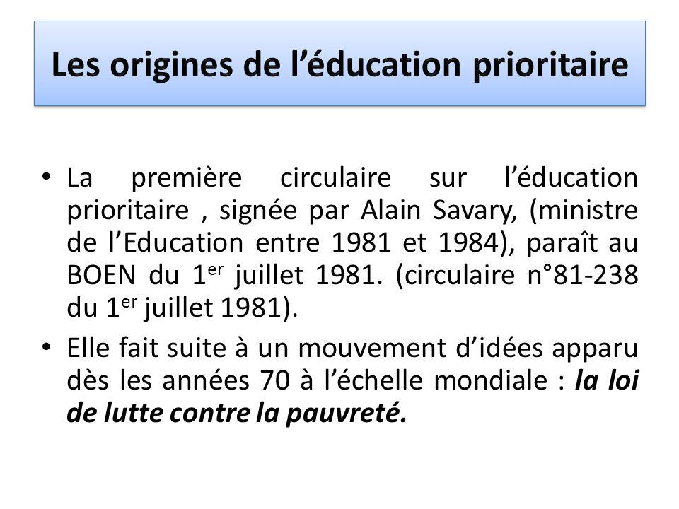 Les origines de l'éducation prioritaire
