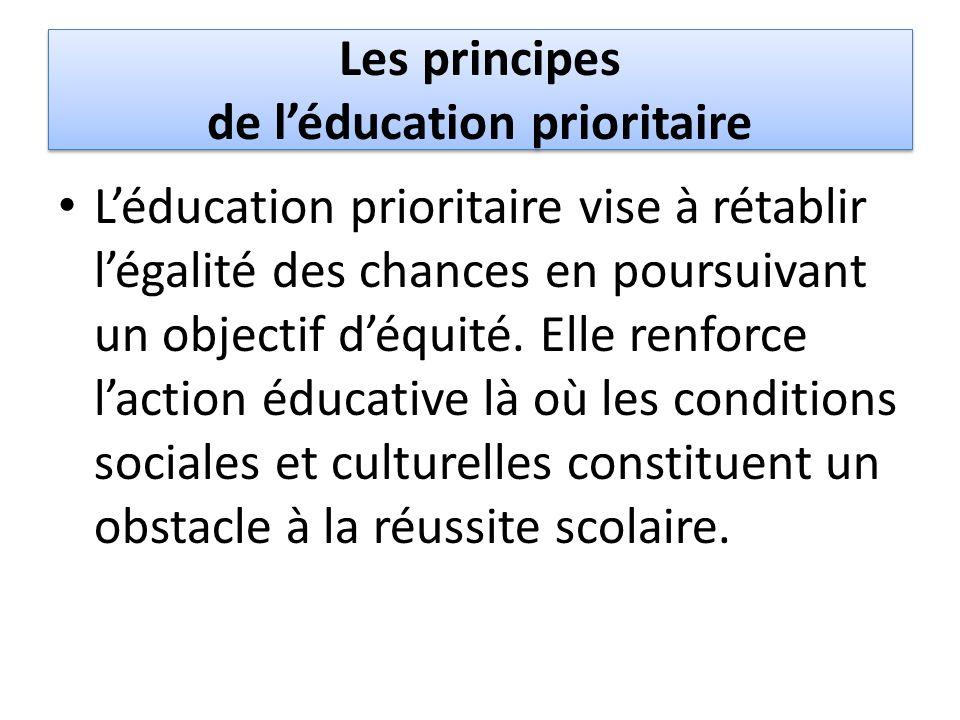 Les principes de l'éducation prioritaire