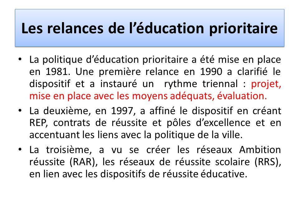 Les relances de l'éducation prioritaire