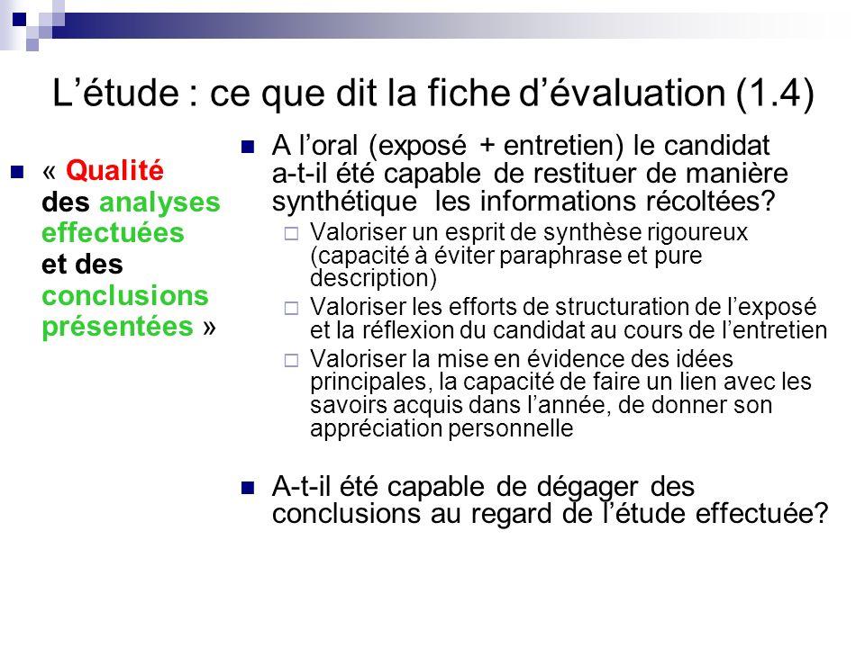 L'étude : ce que dit la fiche d'évaluation (1.4)