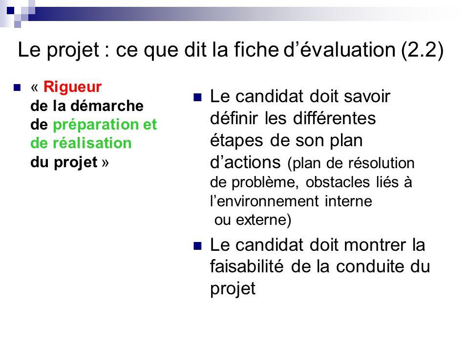 Le projet : ce que dit la fiche d'évaluation (2.2)