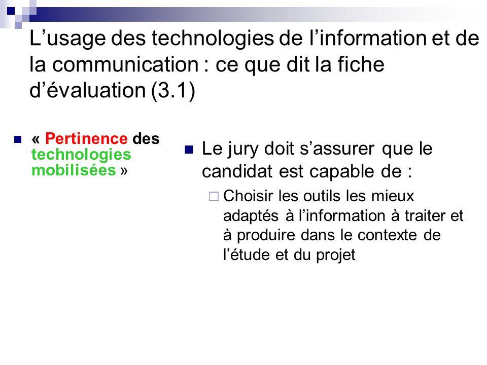 L'usage des technologies de l'information et de la communication : ce que dit la fiche d'évaluation (3.1)