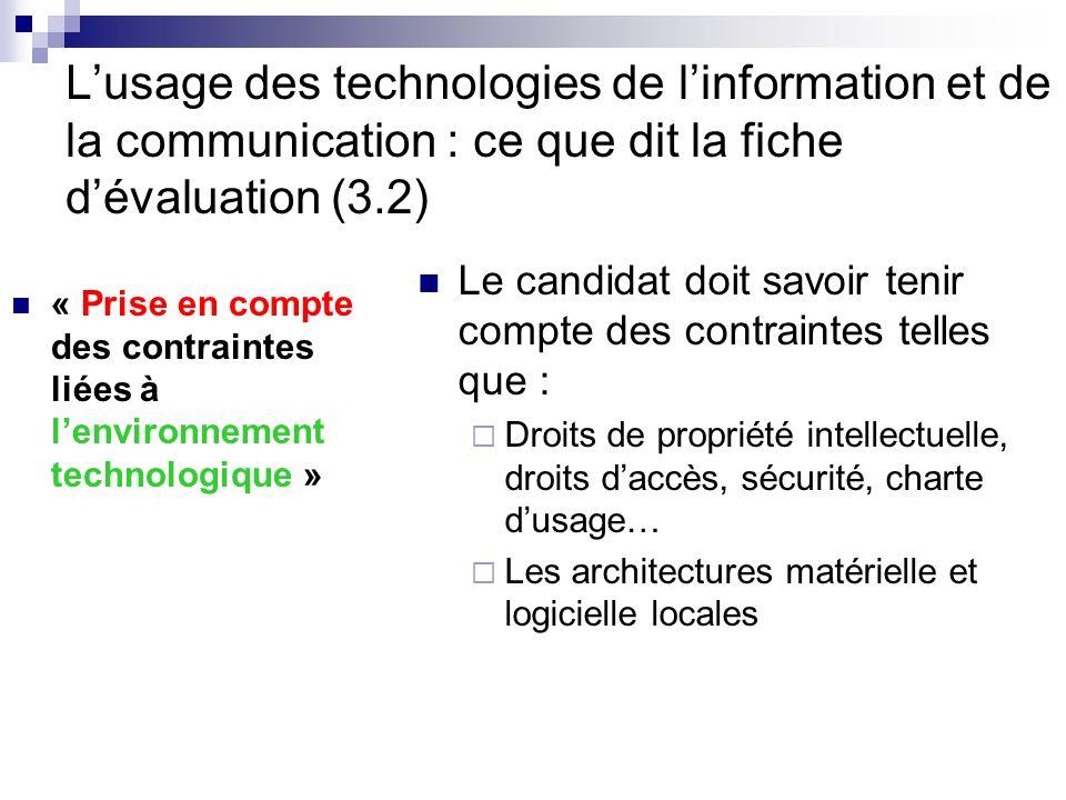 L'usage des technologies de l'information et de la communication : ce que dit la fiche d'évaluation (3.2)