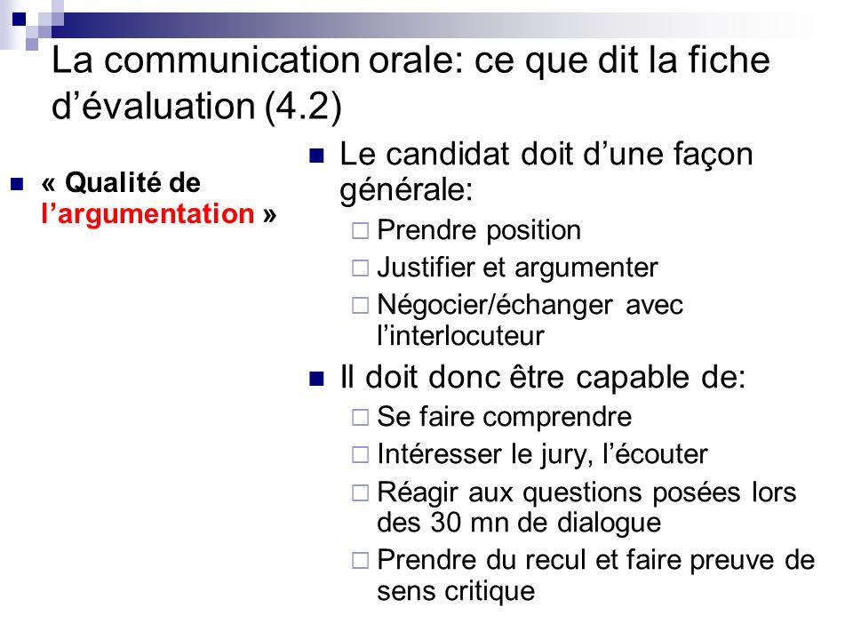La communication orale: ce que dit la fiche d'évaluation (4.2)