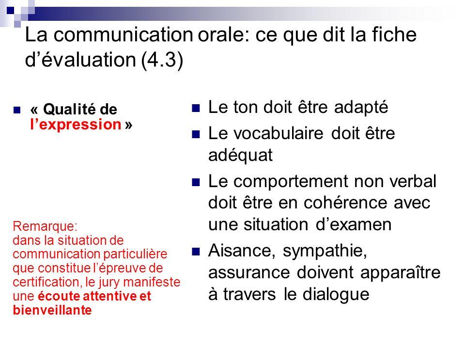 La communication orale: ce que dit la fiche d'évaluation (4.3)