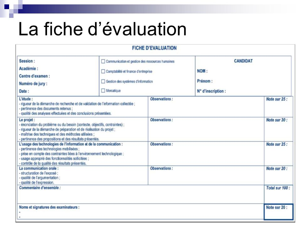 La fiche d'évaluation