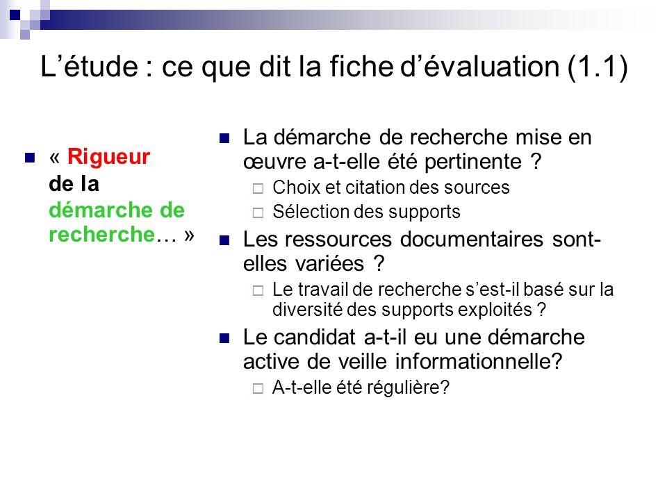 L'étude : ce que dit la fiche d'évaluation (1.1)