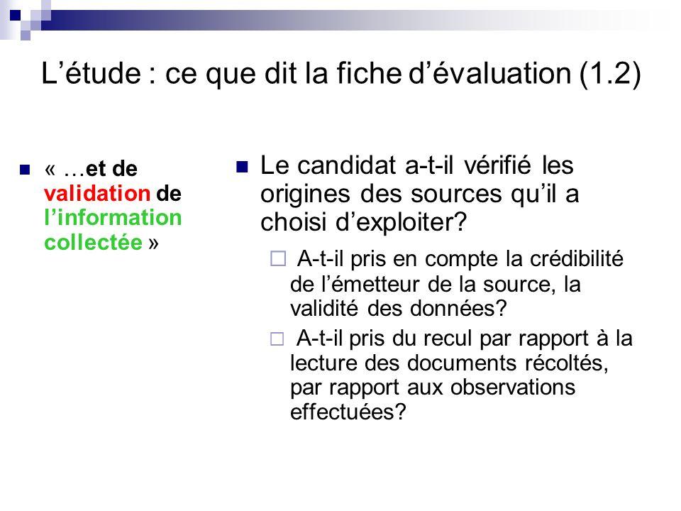 L'étude : ce que dit la fiche d'évaluation (1.2)