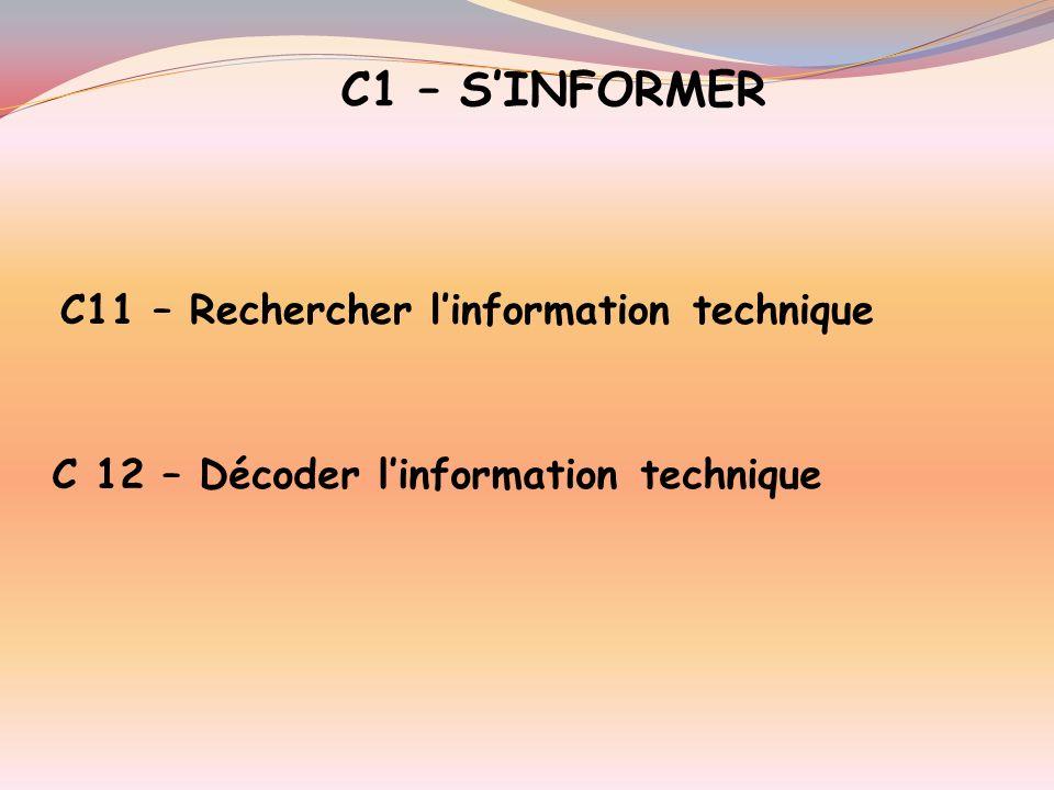 C1 – S'INFORMER C11 – Rechercher l'information technique