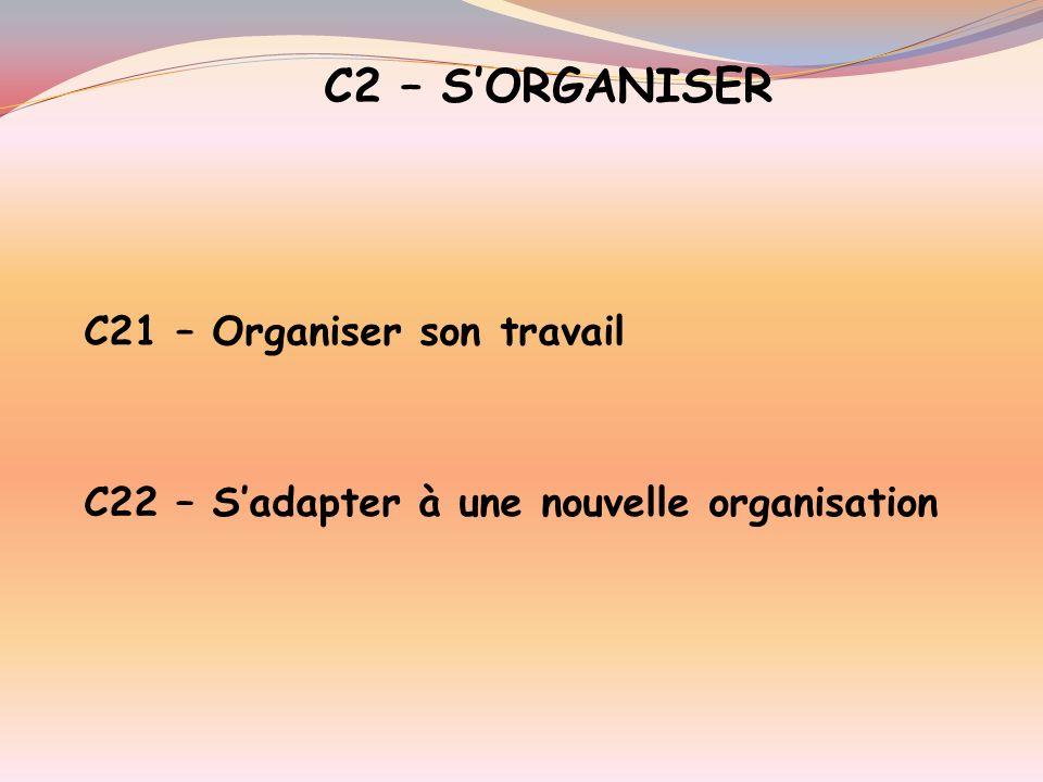C2 – S'ORGANISER C21 – Organiser son travail