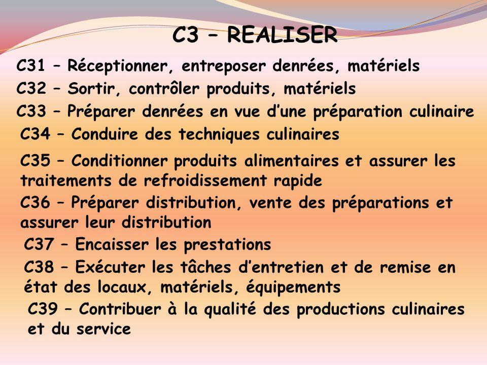 C3 – REALISER C31 – Réceptionner, entreposer denrées, matériels