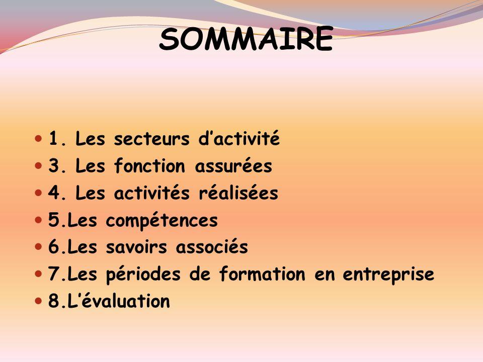 SOMMAIRE 1. Les secteurs d'activité 3. Les fonction assurées