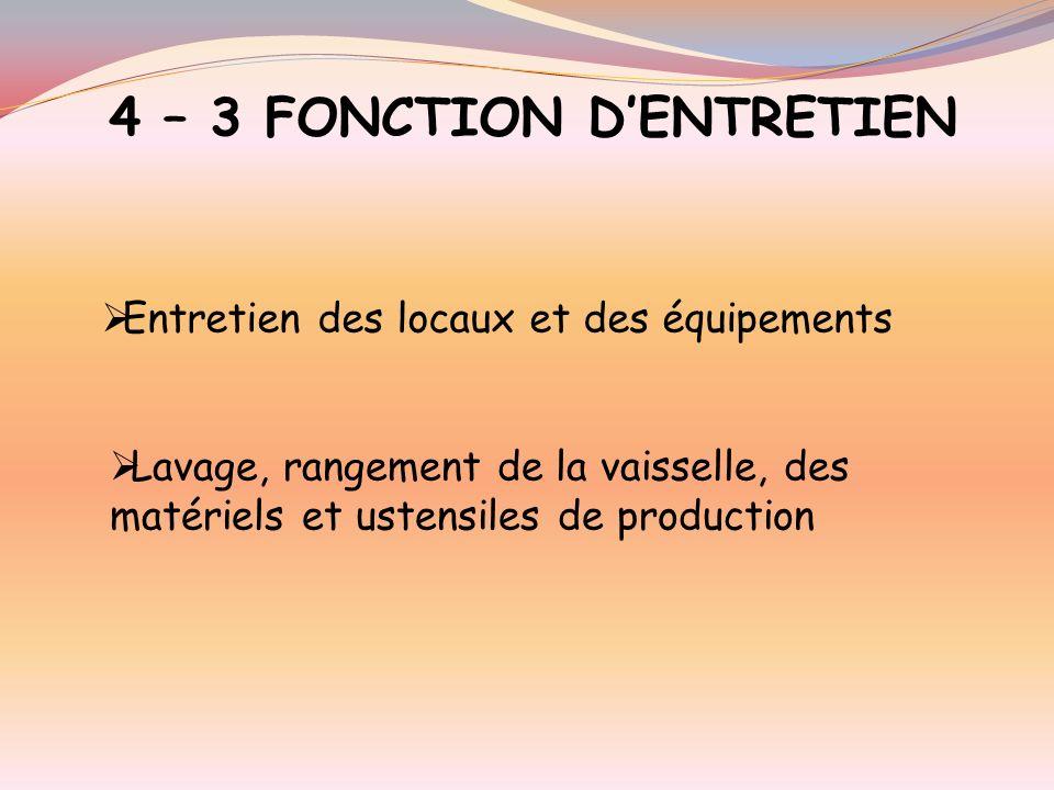 4 – 3 FONCTION D'ENTRETIEN