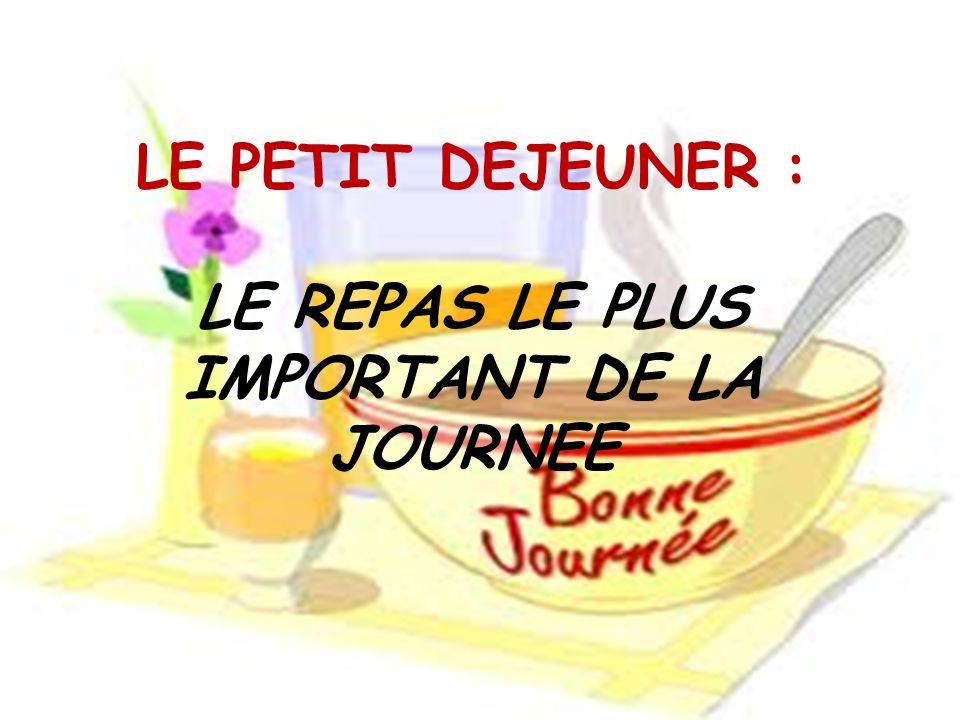 LE PETIT DEJEUNER : LE REPAS LE PLUS IMPORTANT DE LA JOURNEE