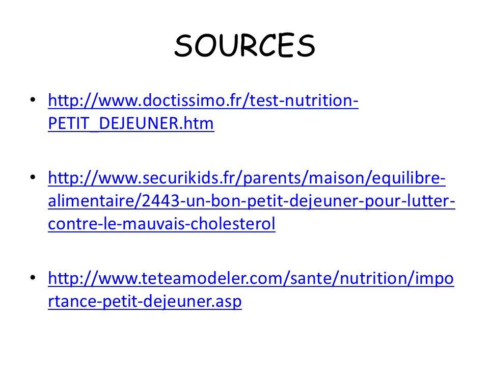 SOURCES http://www.doctissimo.fr/test-nutrition-PETIT_DEJEUNER.htm