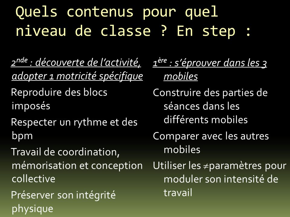 Quels contenus pour quel niveau de classe En step :