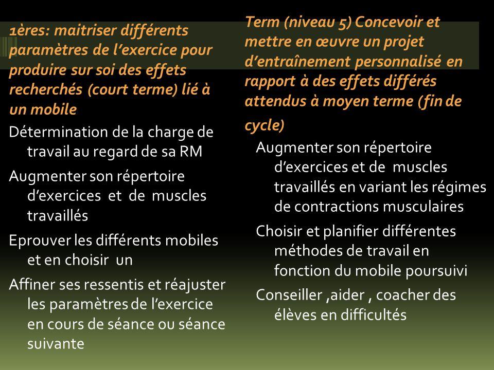 1ères: maitriser différents paramètres de l'exercice pour produire sur soi des effets recherchés (court terme) lié à un mobile