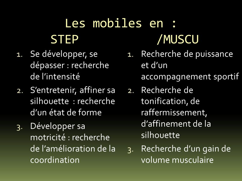 Les mobiles en : STEP /MUSCU