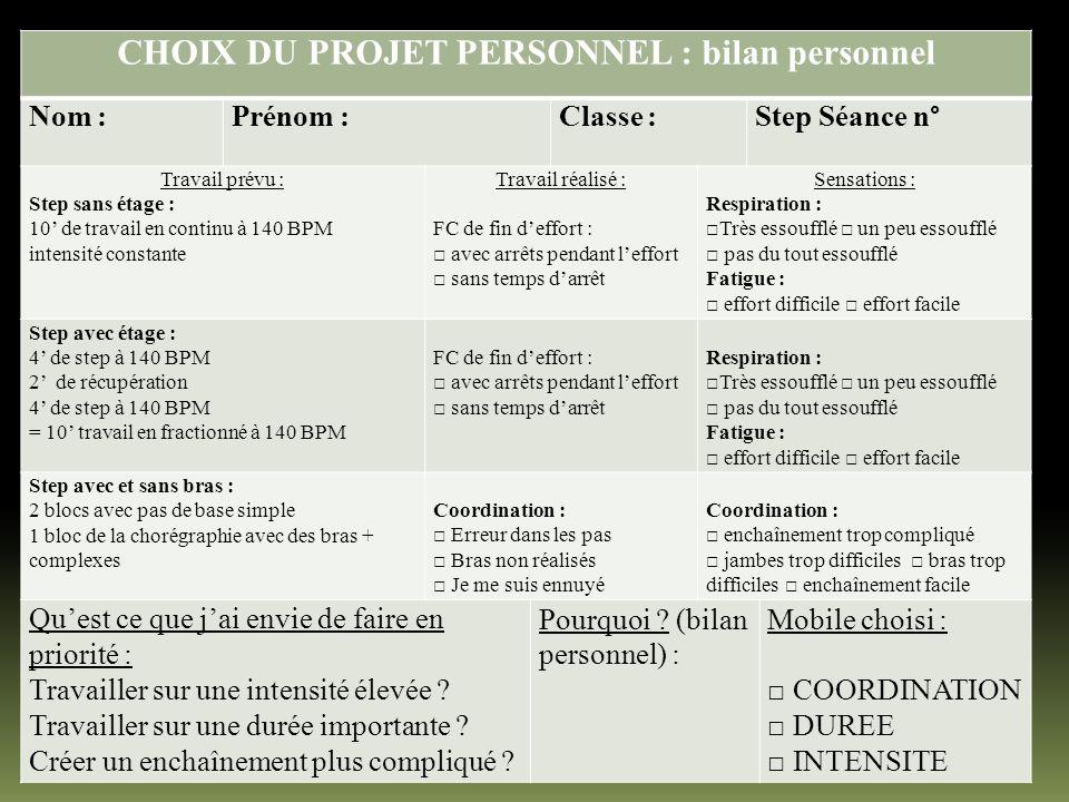 CHOIX DU PROJET PERSONNEL : bilan personnel